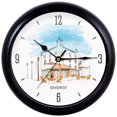 Часы круглые настенные Кафе 25 см ENERGY ЕС-105 кварцевый механизм плавный ход