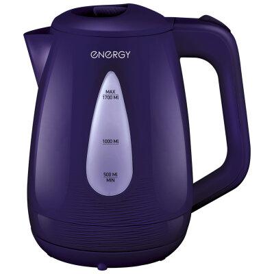 Чайник электрический пластиковый 1.7 л ENERGY E-214 с подсветкой и фильтром, диск, фиолетовый