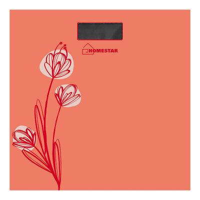 Весы напольные электронные домашние до 180 кг HOMESTAR HS-6001A цвет - Коралл, квадратная стеклянная поверхность