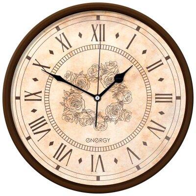 Часы круглые настенные 32 см ENERGY ЕС-106 кварцевые рисунок Цветы