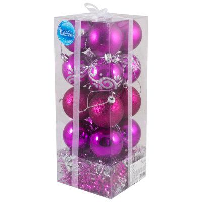 Набор из 16 шаров 6 см и новогодних бус SYCB17-252 на елку