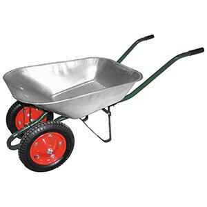 Тачка садовая двухколесная усиленная до 150 кг WB 4107-2 оцинкованное корыто 65 л диаметр колеса 330 мм