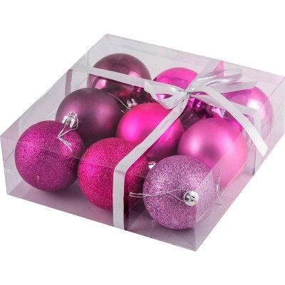 """Набор из 9 новогодних елочных шаров """"Фуксия"""" 6 см"""