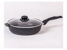 Сковорода Мечта Гранит black С28802 28 см с несъемной ручкой и стеклянной крышкой