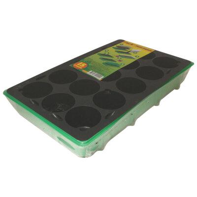 Мини парник 15 ячеек для рассады на подоконник (1 вставка x 15 ячеек)