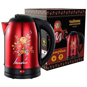 МАТРЁНА MA-005 Чайник электрический стальной 2 л красный хохлома
