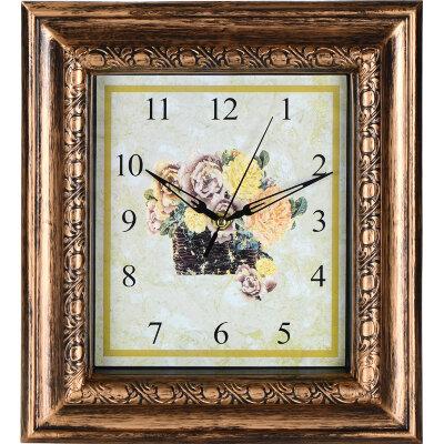 """Часы квадратные настенные 27х27 см MAXTRONIC MAX-6143 """"Букет цветов  в корзине"""" на батарейке"""
