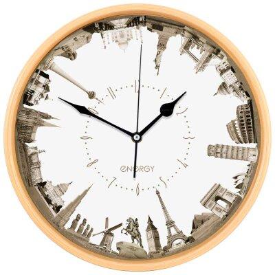 Часы круглые настенные 32 см ГОРОДА ENERGY ЕС-109 кварцевые пластиковые