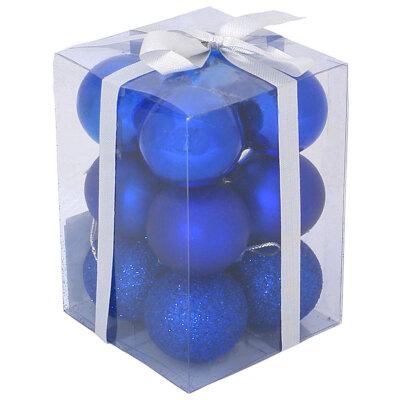 Набор матовых и глянцевых елочных шаров 4 см PB4-12SMB-B  12 шт