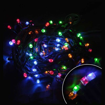 Светодиодная гирлянда многоцветная LED100-8-MC 100 LED ламп,  8 м, шнур зеленый, 8 режимов мигания