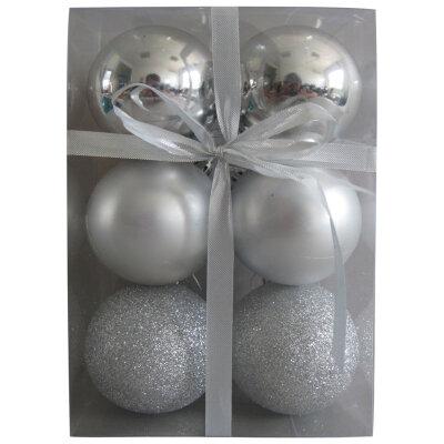 Матовые и глянцевые шары на елку 6 см PB6-6SMB-S 6 шт Серебряные