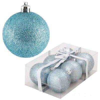 Набор новогодних шаров PB6-6B-LB 6 штук 6 см голубые блестящие