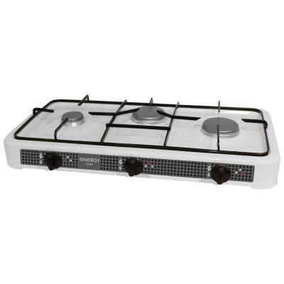 Плита газовая настольная 3-х конфорочная Energy EN-003 33x59 см, Белая
