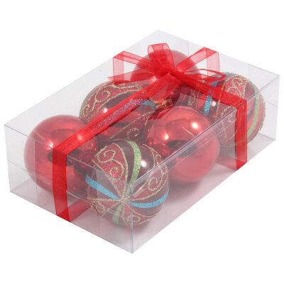 Красные пластиковые шары на елку 6 см PB6-6TDSH-R  6 шт