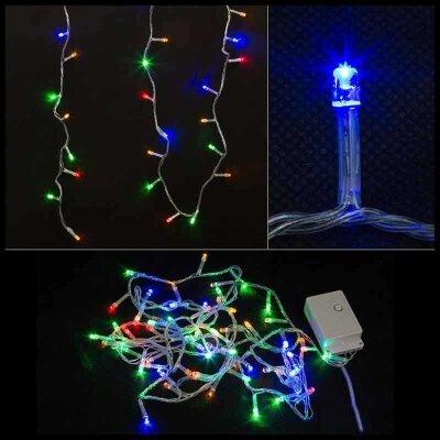 Светодиодная гирлянда многоцветная мигающая LED60-3-MC 60 LED ламп, 3 м, шнур прозрачный, 8 режимов