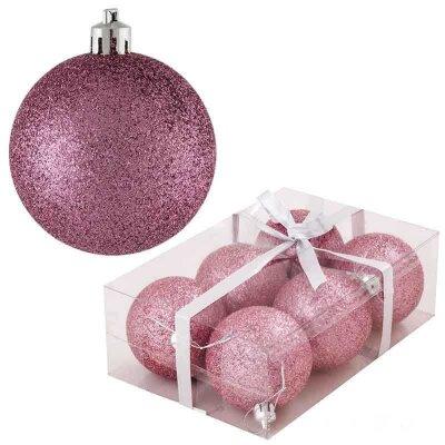 Набор новогодних шаров PB6-6B-P 6 штук 6 см розовые блестящие