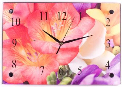 Часы настенные прямоугольные Букет 37х25 см MAXTRONIC MAX-96023 стеклянные
