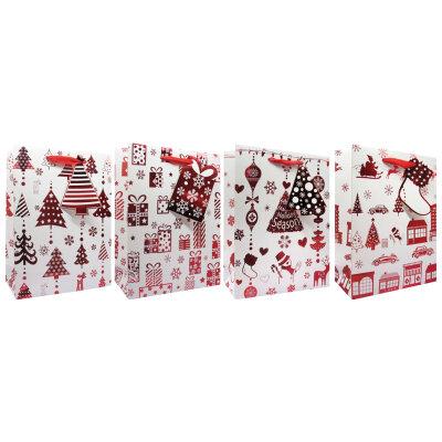 Бумажный пакет для новогоднего подарка RED-03 17.5x8x23 см