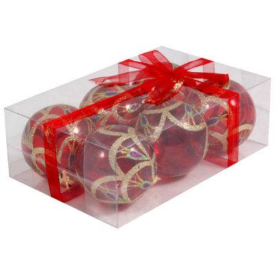 Пластиковые прозрачные елочные шары 6 см PBD6-6-995-R 6 шт, Красные