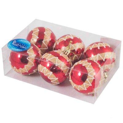 Набор елочных шаров с рисунком SYCB17B-017 6 штук 6 см красные с золотом
