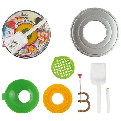 Набор для консервирования 647-03 7 предметов - воронка, стерилизатор, совочек, косточкодавка, магнитная палочка, крышка и переходник