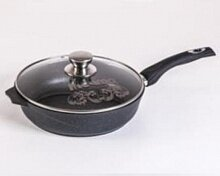 Сковорода 22 см Мечта Гранит black С022802 со съемной ручкой и крышкой