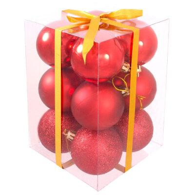 Набор матовых и глянцевых новогодних шаров 6 см PB6-12SMB-R 12 шт  цвет Красный