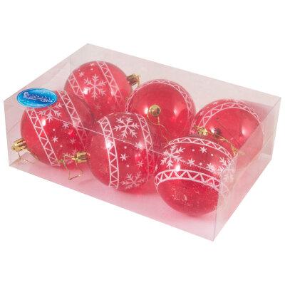 Прозрачные елочные шары из пластика 8 см SYCB17-091 6 шт Красные