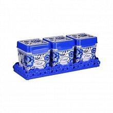Набор банок для сыпучих продуктов Флорель М4724 Альтернатива 1.2 л 3 штуки на подставке