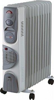 Масляный обогреватель с вентилятором 11 секций 2.5 кВт MAXTRONIC MAX-OR07-11F регулируемый термостат