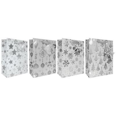 Подарочный новогодний пакет для подарков WHITE-02 бумага,  26x10x32 см