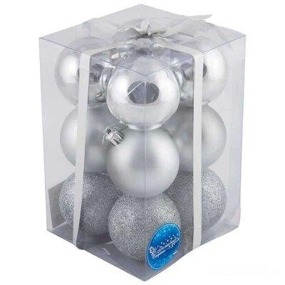 Набор матовых глянцевых новогодних шаров для декора 6 см PB6-12SMB-S 12 шт цвет  серебряный