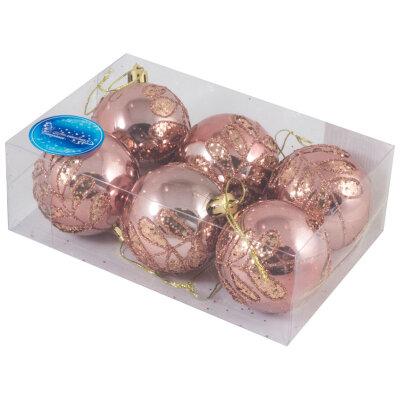 Набор пластиковых елочных шаров 6 см  SYCB17-128 6 шт розовые