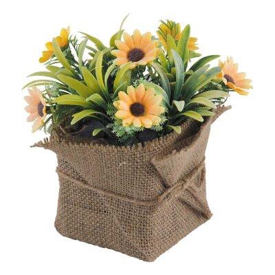 Искусственные цветы в горшке Гацания желтая для интерьера 16x11 см
