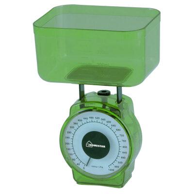 Весы с чашей настольные механические до 1 кг HOMESTAR HS-3004М модель МИНИ, цвет - зеленый