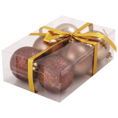 Набор из матовых и глянцевых елочных шаров 6 см PB6-6SMB-C цвет бронза