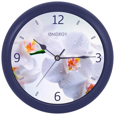 Часы круглые настенные 25 см Орхидея ENERGY ЕС-110 с плавным ходом