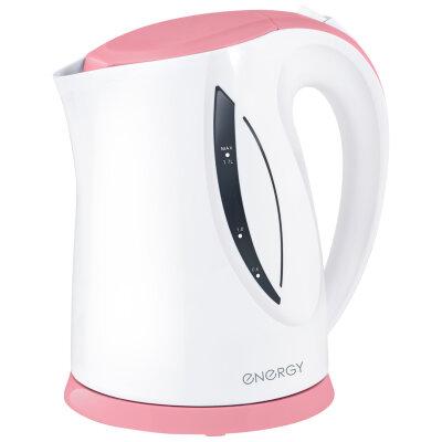 Чайник электрический пластиковый корпус 1.7 л ENERGY E-227 с подсветкой и фильтром 2200 Вт, бело-розовый