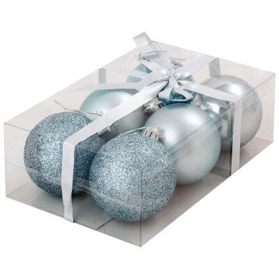 Матовые и глянцевые елочные шары 6 см PB6-6SMB-LB 6 шт цвет  Голубой и Серебро