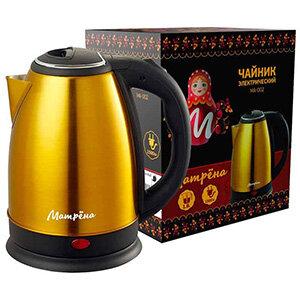 МАТРЁНА MA-002 Чайник электрический стальной 1.8 л желтый