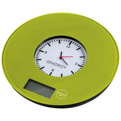 Весы кухонные с часами круглые до 7 кг для кухни ENERGY EN-427 электронные , Салатовые