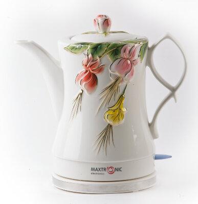 Чайник электрический керамика 1.7 л MAXTRONIC MAX-NK-010 ЦВЕТОЧНЫЙ ВСПЛЕСК 1200 Вт ручная роспись