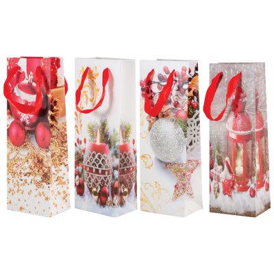 """Подарочный новогодний пакет для бутылки """"Winter"""" 12.7x8.3x35.6 см"""