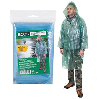 ECOS Дождевик плащ прозрачный на липучках,  р-р 48-54, XXL 40 мкм