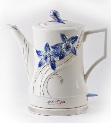 Чайник электрический керамика 1.7 л MAXTRONIC MAX-NK-021 НЕБЕСНЫЙ ВАЛЬС объемный дизайн, ручная роспись