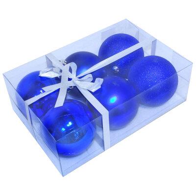 Елочные шары синего цвета 6 шт PB8-6SMB-B, 8 см
