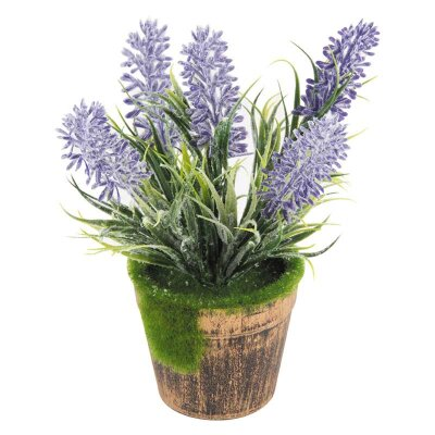 Искусственный цветок в горшке для интерьера Лаванда 17 см