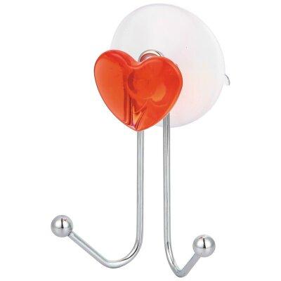 Крючок двойной для полотенец в ванную Сердце W2790-1 крепление присоска