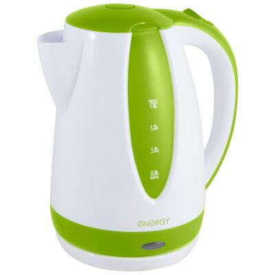 ENERGY E-229 Чайник электрический пластиковый 1.8 л, 1500Вт, диск, бело-зеленый
