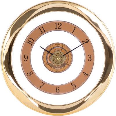 """Часы круглые настенные интерьерные 30 см MAXTRONIC  MAX-8307B """"Движение"""" золотой ободок, пластиковые"""